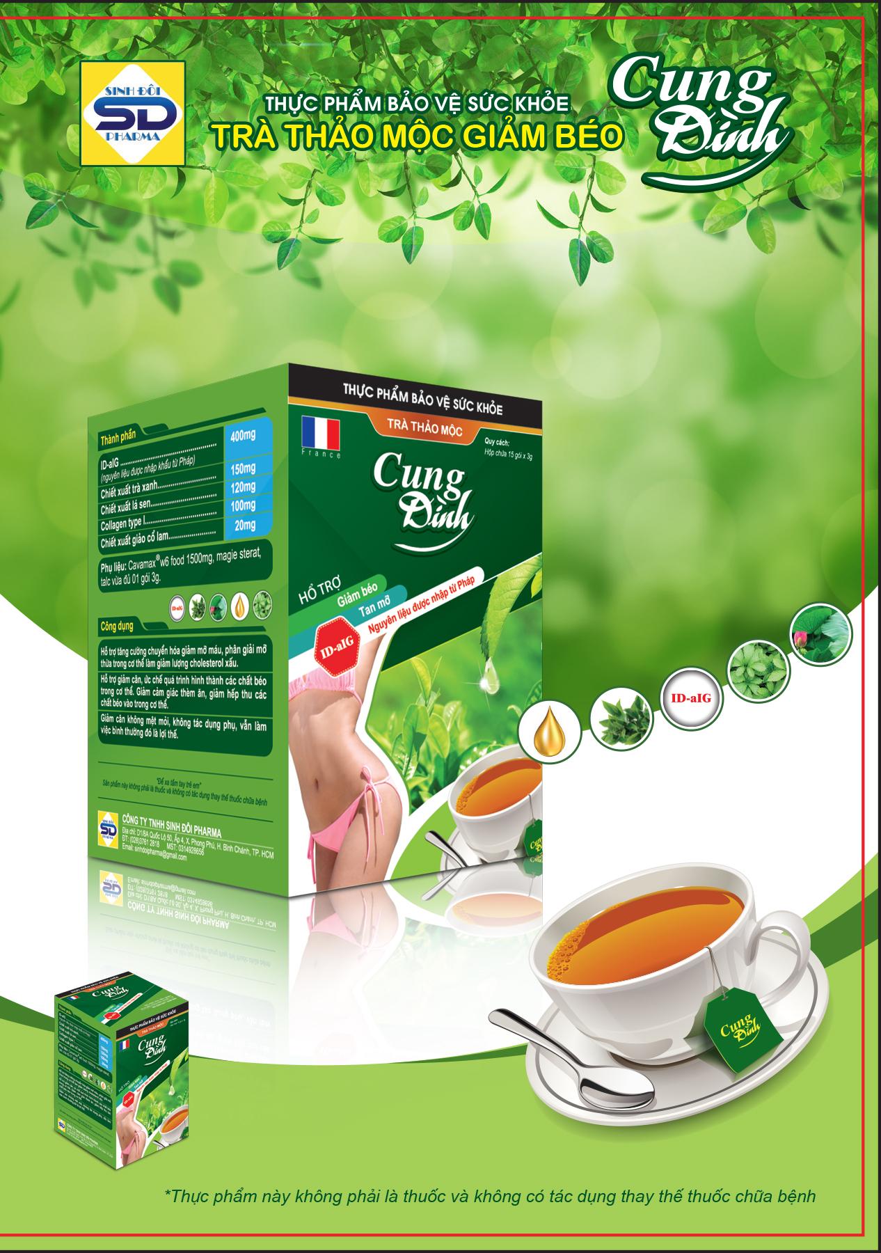 hình ảnh thiết kế trà thảo mộc giảm cân Cung Đình