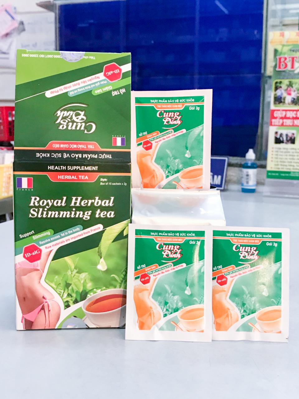 Hộp và gói trà thảo mộc giảm cân Cung Đình